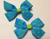 """set of 2 pigtail 3"""" turquoise blue teal lime green polka dot grosgrain hair bow birthday party favor pinwheel baby teen clip piggies"""
