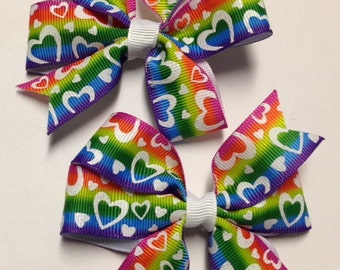 """Set of 2 pigtail bows - 3.5"""" Rainbow heart hair bow clip grosgrain ribbon piggies barrette birthday party favor toddler teen adult baby"""
