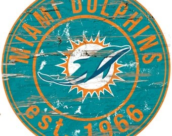 """NFL Miami Dolphins Round Distressed Established Wood Sign 24"""" In Diameter"""