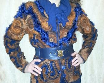 Knit jacket, multicolor jacket, crocheted jacket, style freeform,blue, brown, beige, jacket handmade from wool, mohair,acrilic