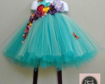 15% off woodland fairy dress, flower girl dress, tutu dress, teal tutu dress, fairy gown, fairy dress, fairy costume