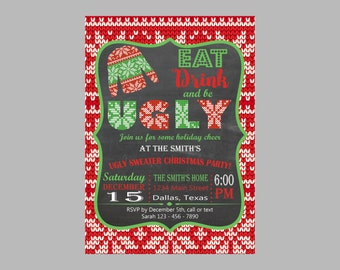 Ugly sweater invitation, Ugly sweater christmas invitation, christmas party invitation, ugly sweater invite, holiday invitation, chalkboard
