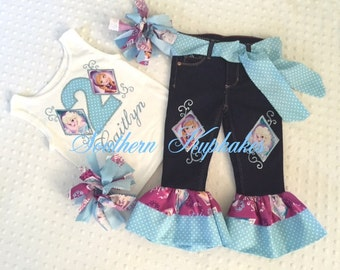 Frozen Elsa Anna Disney inspired 5pc. Set Outfit Bday Birthday Custom Boutique All Sizes 12mo - 14 years Casual Wear Theme Character Pageant