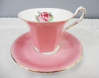 Salisbury Pink Corset / Hexagon Pink Rose Bone China Teacup and Saucer
