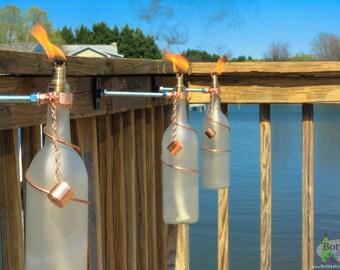 Two 375ml wine bottle tiki torches garden gift outdoor for Decor 750ml