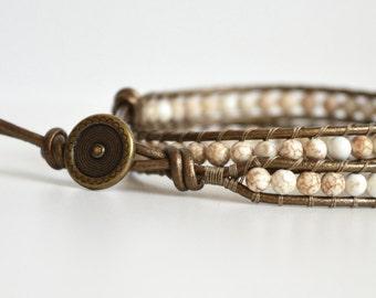 Gemstone Wrap Bracelet, Beaded Wrap Bracelet, Gemstone Bracelet, Leather Wrap Bracelet, Boho Wrap Bracelet,  Gemstone Bead Wrap Bracelet