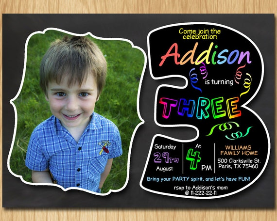 3rd birthday invitation chalkboard invite rainbow colors third