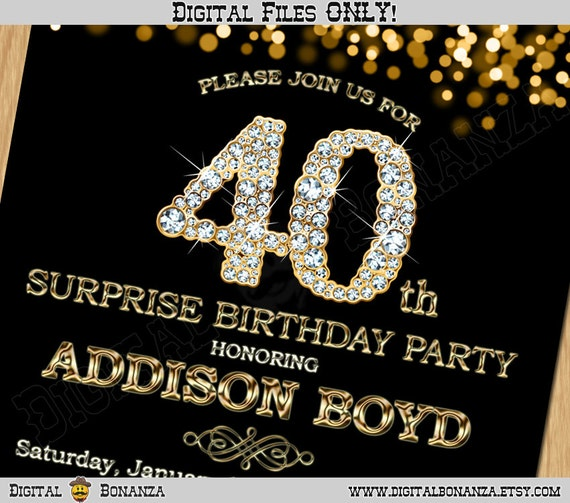 40th Birthday Invitation Gold Glitter Party Invitation Elegant Forty