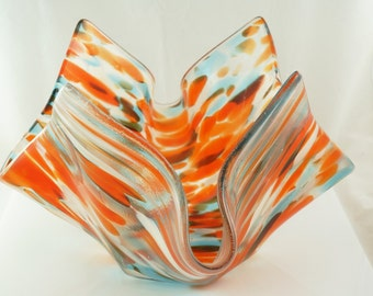 Custom Fused Glass Vase or Candle Holder Fused Textured and Slumped           22V