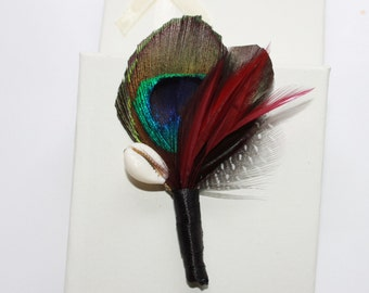 Feather Boutonnière, Buttonhole , Boutonnières for Wedding ,lapel pin for Groom