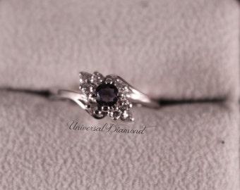 19k White Gold Blue Sapphire Diamond Ring