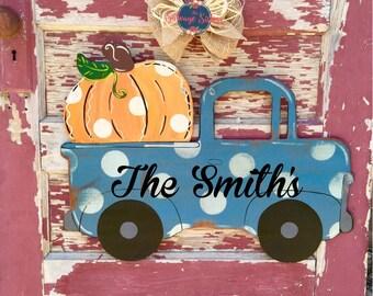 Harvest Time, Fall Decor, Pumpkin in Truck, Thanksgiving Decor, Truck Door Hanger, Fall Door Hanger