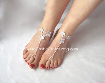 Barefoot Sandals, Crochet Bare Foot Beach Wear, Foot Accessories, Barefoot Beach Wedding Shoes