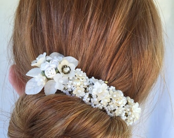 HAND BEADED BARRETTE, Bridal and Vintage Inspired by Designer Colleen Toland