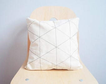 Geometric  Pillow , geometric Pillow cover , Black Triangle , Line art Pillow cover ,Throw Pillow , Organic Cotton pillow , geometry