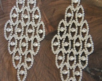 extra large clear rhinestone earrings, prom/pageant chandelier rhinestone earrings, extra long bridal earrings, oversized earrings