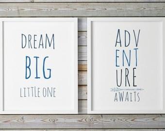 Adventure Awaits, Dream Big Little One, Printable Nursery Art, Childrens Wall Art, Navy Blue Nursery, Playroom Sign, Nursery Illustration