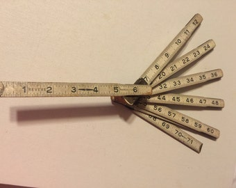 Vintage Wooden Folding Tape Measure Yard Stick