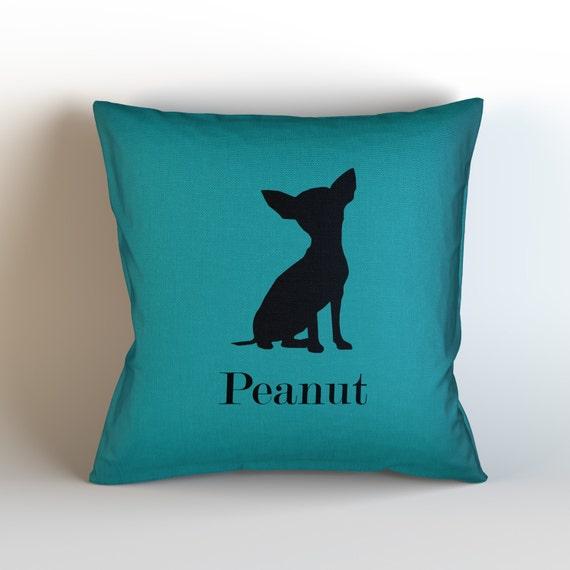 Oreiller de chien nom jeter décoratifs personnalisé / personnalisé / choisir couleur / nom de la coutume / Silhouette Chihuahua / chien coussin / chien amant / animal familier oreiller