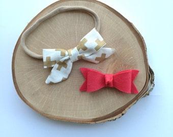 "Fabric ""Zoe"" gold cross bow headband//alligator clip// set"