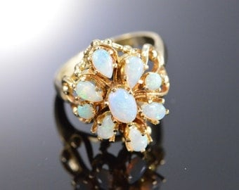 14K 0.70 CTW Opal Cluster Ring - Size 6 / Yellow Gold - EL10823