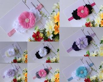 Baby Headband Girl Hair Band Shabby Flower Headband Handmade Newborn Photo Prop White Pink