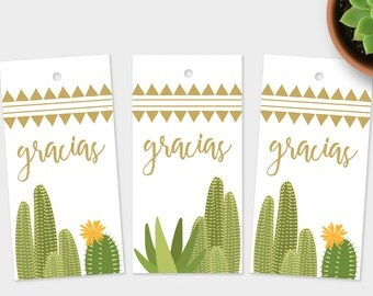 Gracias Gift Tags, Rustic Cactus Tags, Thank You Tags