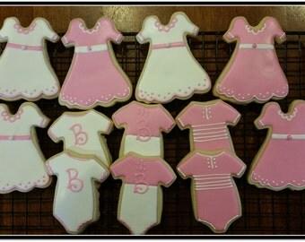 Baby Shower Cut Out Sugar Cookies -  1 Dozen