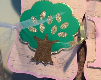 Enchanted Forest Banner, Woodland Party Birthday Banner, Fairy Party Birthday Banner, Forest Party Birthday Banner, Pink and Gold Birthday