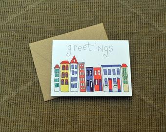 Greetings Skyline Greeting Card