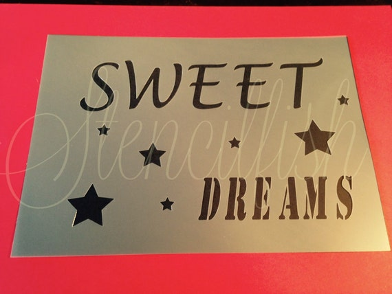 Sweet dreams stencil quote craft silhouette plaque bedroom for Quote stencils for crafts