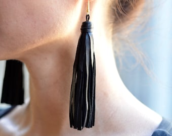 Genuine Leather Tassel Earrings, Black Tassel Earrings, Leather Earrings, Large Leather Tassel, Large Statement Earrings, Oversized Tassel