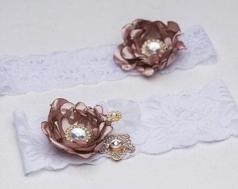 Set of garters, Bridal Garter, Toss Garter,chocolate garter