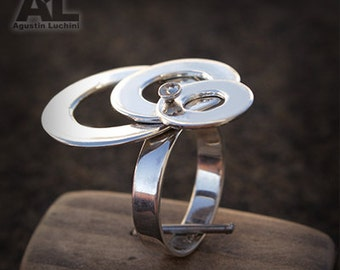 Silver Washer ring sterling - Anillo de Arandelas moviles