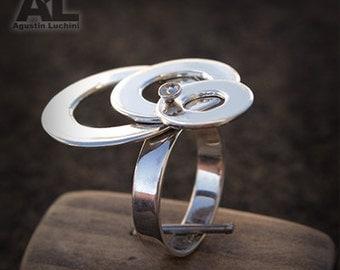 Silver Washer ring sterling - Anillo de Arandelas moviles