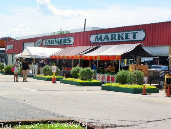 Farmers Market, red,photography, fine art print
