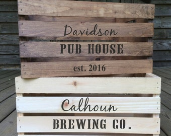 Rustic Wedding Card Box, Personalized Brewery Wedding Card Crates, Wood Wedding Card Box