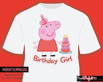Peppa pig shirt, Peppa pig tshirt iron on transfer, Peppa pig birthday party shirt iron on transfer, printable, Peppa Pig, Digital File Only