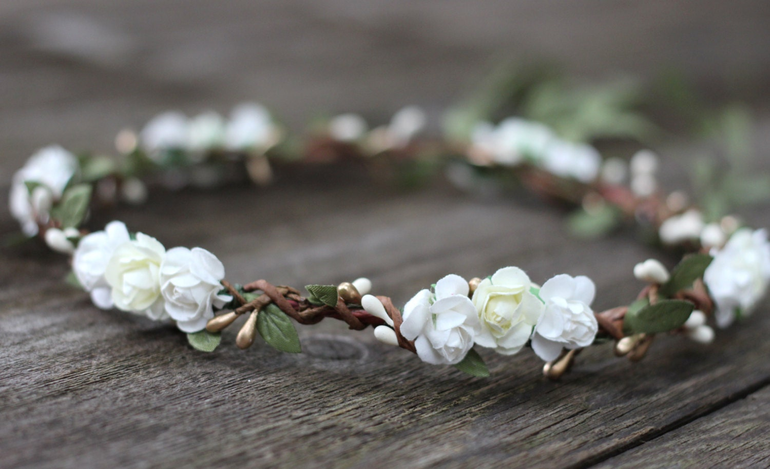 Ivory and white flower crown gold bridal flower crown headpiece ivory and white flower crown gold bridal flower crown headpiece white rose crown floral headband hair mightylinksfo