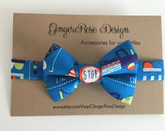 Construction Trucks Bow Tie; Boys Bow Tie; Toddler Bow Tie; Baby Bow Tie; Adjustable Bow Tie; Velcro Bow Tie