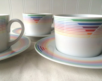 Inter-national Fine China Japan Art-Deco Spectrum Coffee Mugs and Saucers