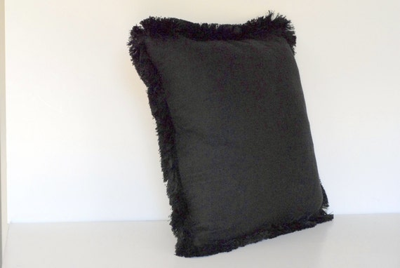 Black Throw Pillows With Fringe : large gold black solid velvet square throw pillow with fringe