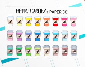 Coffee Stickers, Coffee Date Stickers, Date Stickers, Drink Stickers, Planner Stickers, Erin Condren Planner Stickers, ECLP, E028