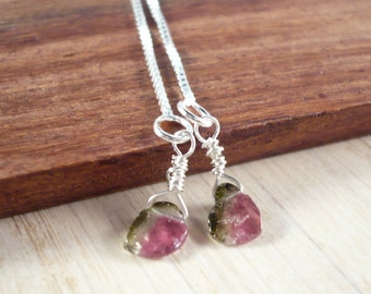 Tourmaline earrings, silver threaders, watermelon tourmaline slices, summer jewelry, pink green jewelry, wire wrapped