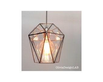 Geometric pendant lamp - bespoke handmade glass lamp - geometric home decor - triangular sides lamp - handmade stained glass.