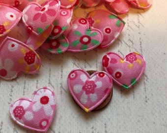 SET of 20 Pink with Floral Design Cotton Valentines Heart Padded Appliques/ Scrap Booking/ Doll clothes/ Hair bow/ Hair Clip/bow