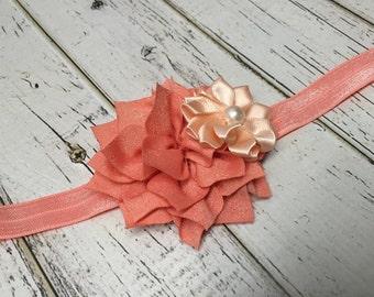 READY TO SHIP Baby-size peach coral lotus flower elastic headband
