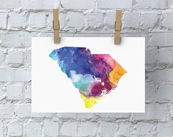 South Carolina Watercolor Map - Giclée Print of Hand Painted Original Art - 5 Colors to Choose From
