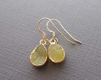 Yellow Druzy Earrings/ Gold Edge Pear Earrings/ Small Yellow Earrings/Bridesmaid Gift Yellow Wedding/ Citron Drusy Earrings Gold/