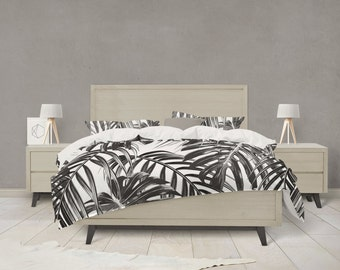 Tropical Leaf black and white duvet cover